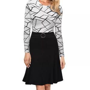 B&W Long Sleeve Dress